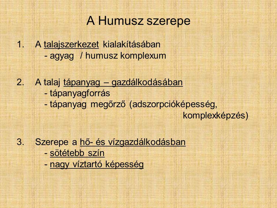 A Humusz szerepe A talajszerkezet kialakításában - agyag / humusz komplexum.