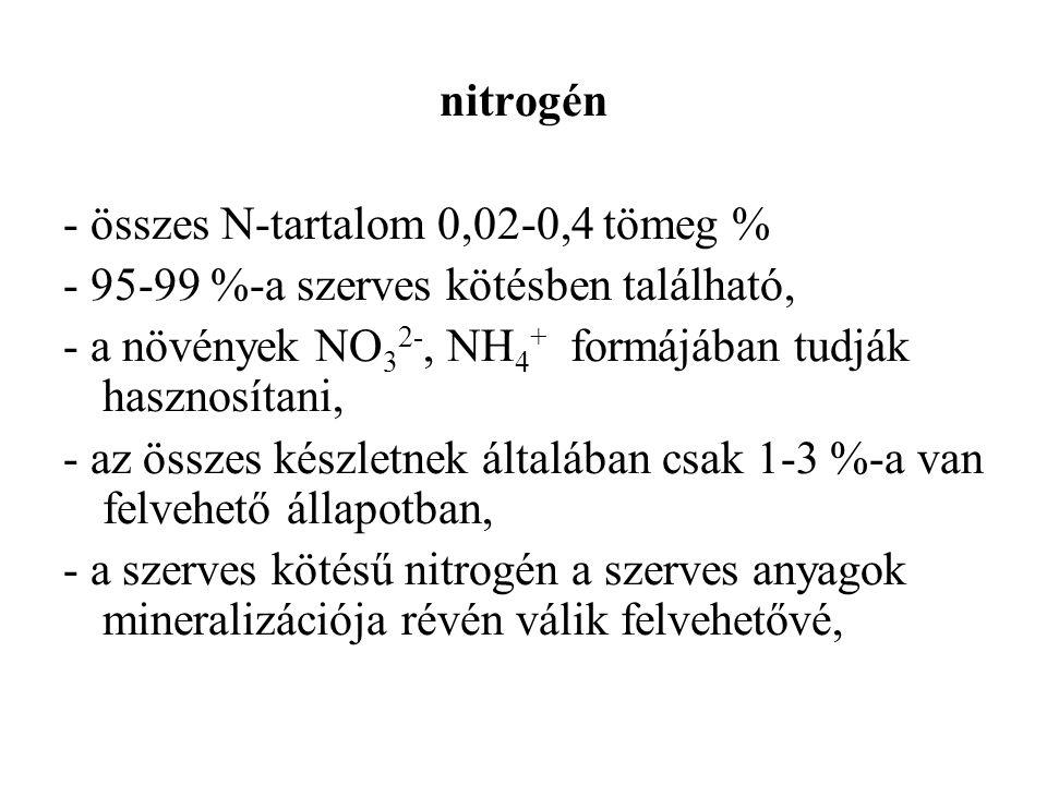 nitrogén - összes N-tartalom 0,02-0,4 tömeg % - 95-99 %-a szerves kötésben található, - a növények NO32-, NH4+ formájában tudják hasznosítani,