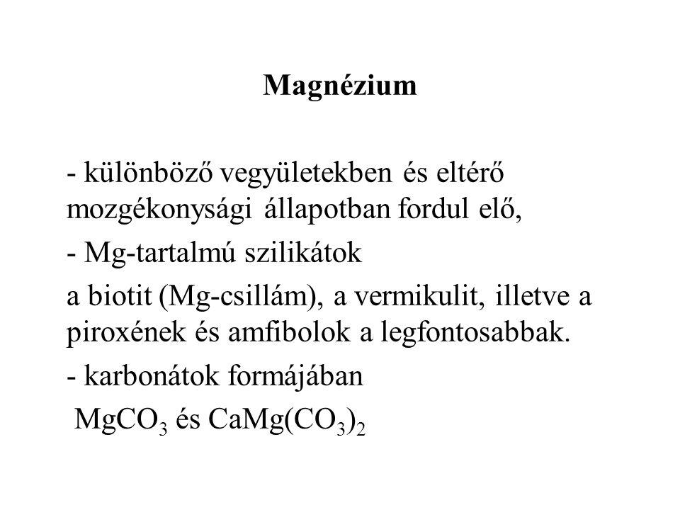 Magnézium - különböző vegyületekben és eltérő mozgékonysági állapotban fordul elő, - Mg-tartalmú szilikátok.
