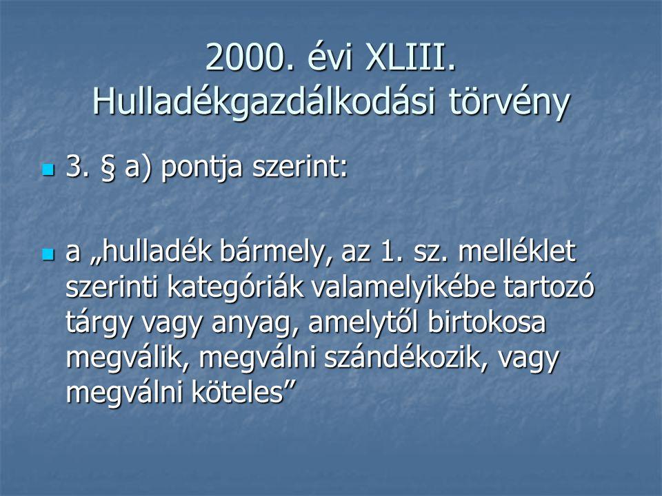 2000. évi XLIII. Hulladékgazdálkodási törvény