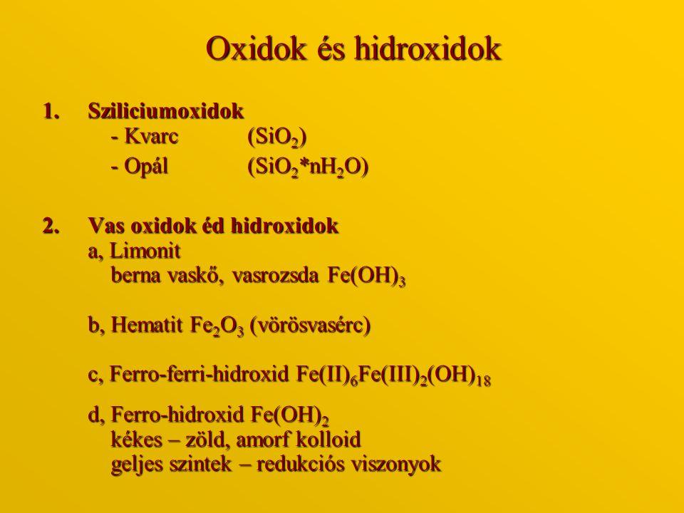 Oxidok és hidroxidok Sziliciumoxidok - Kvarc (SiO2) - Opál (SiO2*nH2O)