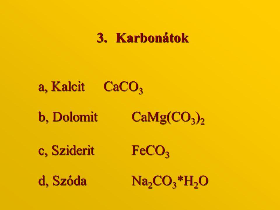 Karbonátok a, Kalcit CaCO3 b, Dolomit CaMg(CO3)2 c, Sziderit FeCO3 d, Szóda Na2CO3*H2O