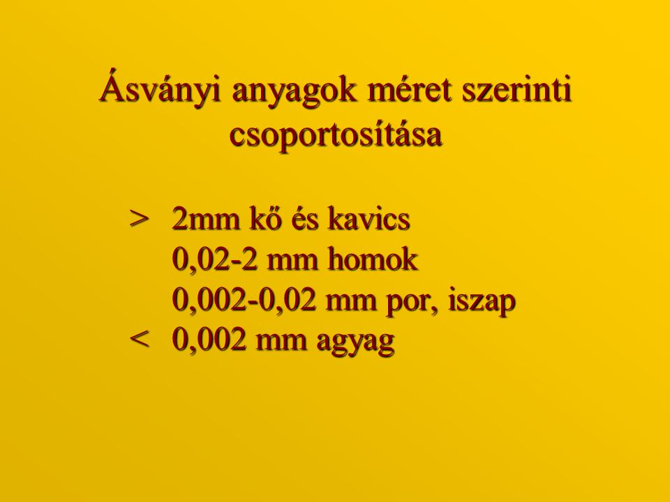 Ásványi anyagok méret szerinti csoportosítása