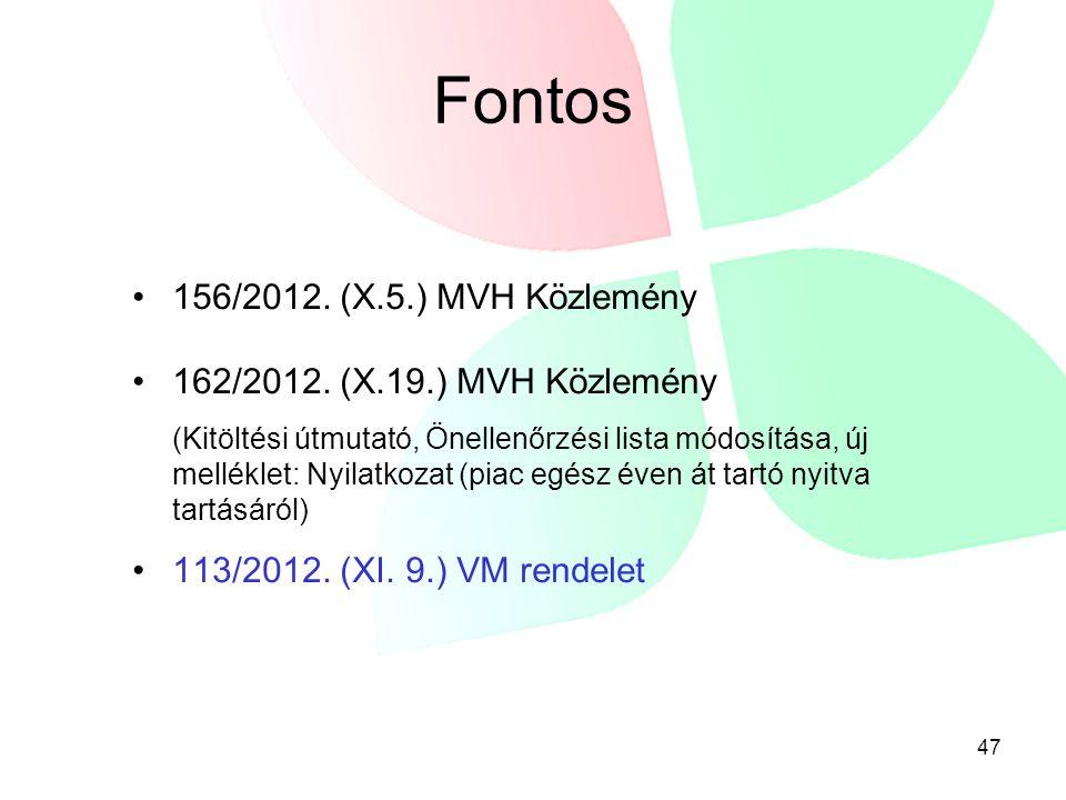 Fontos 156/2012. (X.5.) MVH Közlemény 162/2012. (X.19.) MVH Közlemény