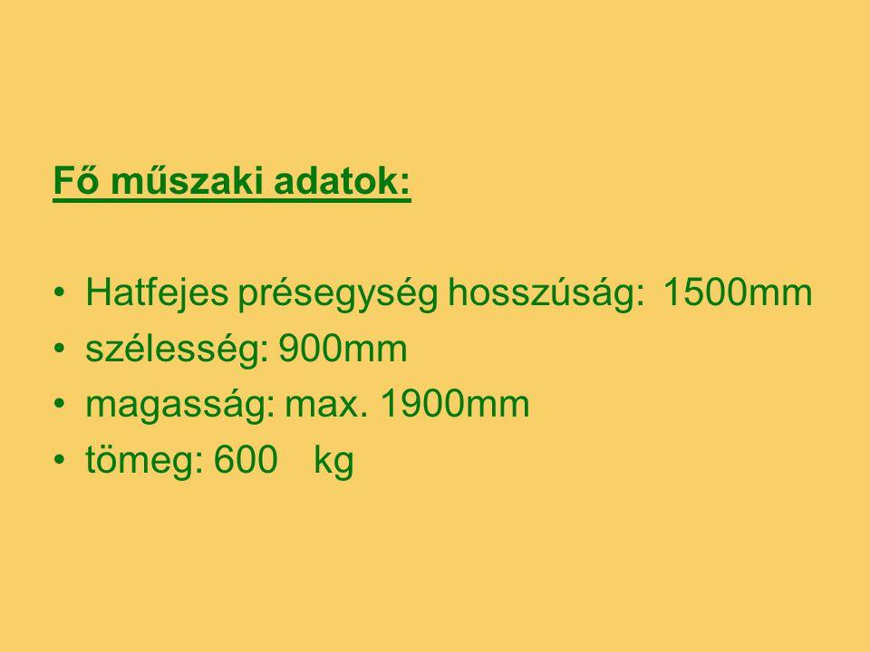 Fő műszaki adatok: Hatfejes présegység hosszúság: 1500 mm. szélesség: 900mm. magasság: max. 1900mm.