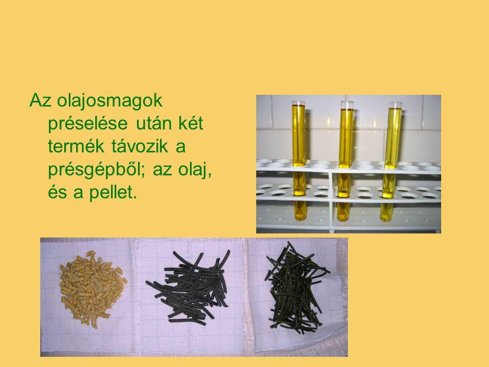 Az olajosmagok préselése után két termék távozik a présgépből; az olaj, és a pellet.