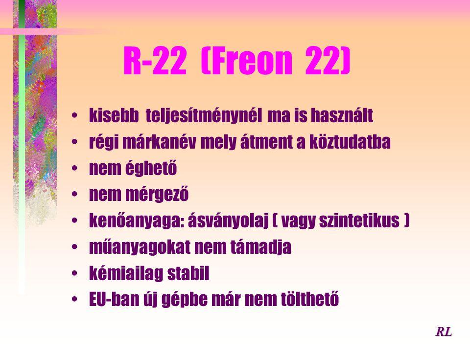 R-22 (Freon 22) kisebb teljesítménynél ma is használt