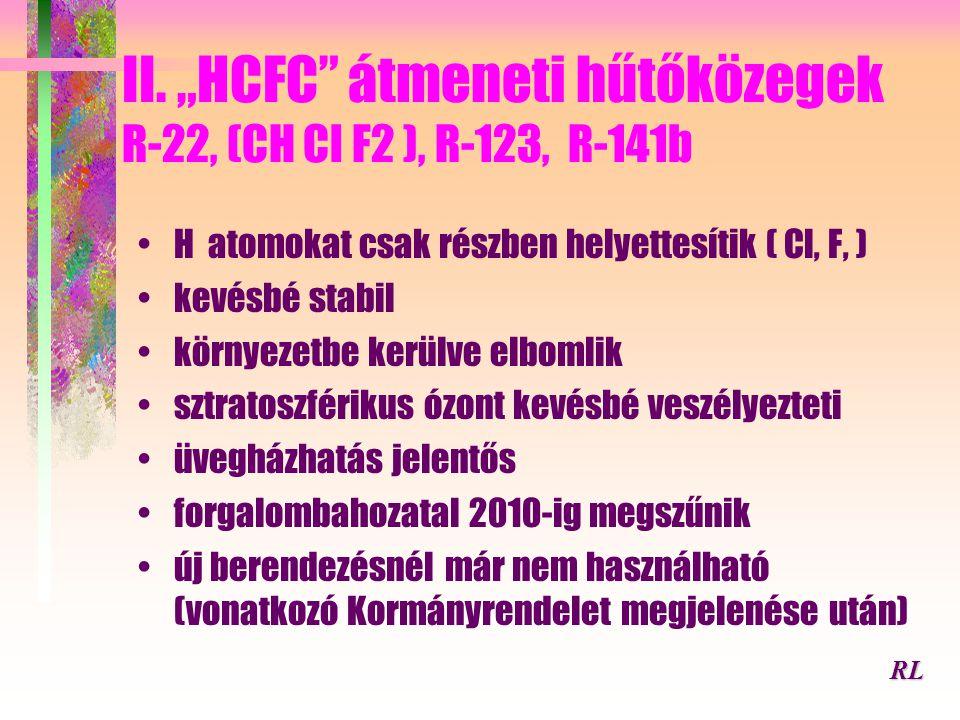 """II. """"HCFC átmeneti hűtőközegek R-22, (CH Cl F2 ), R-123, R-141b"""