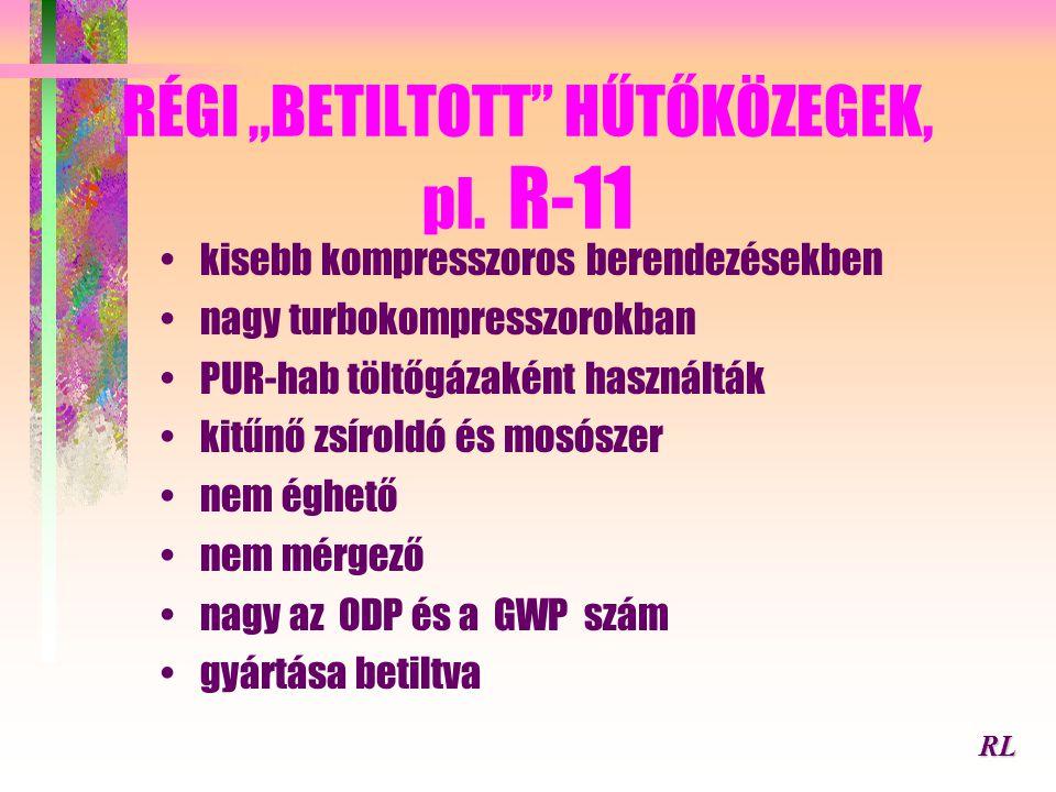 """RÉGI """"BETILTOTT HŰTŐKÖZEGEK, pl. R-11"""