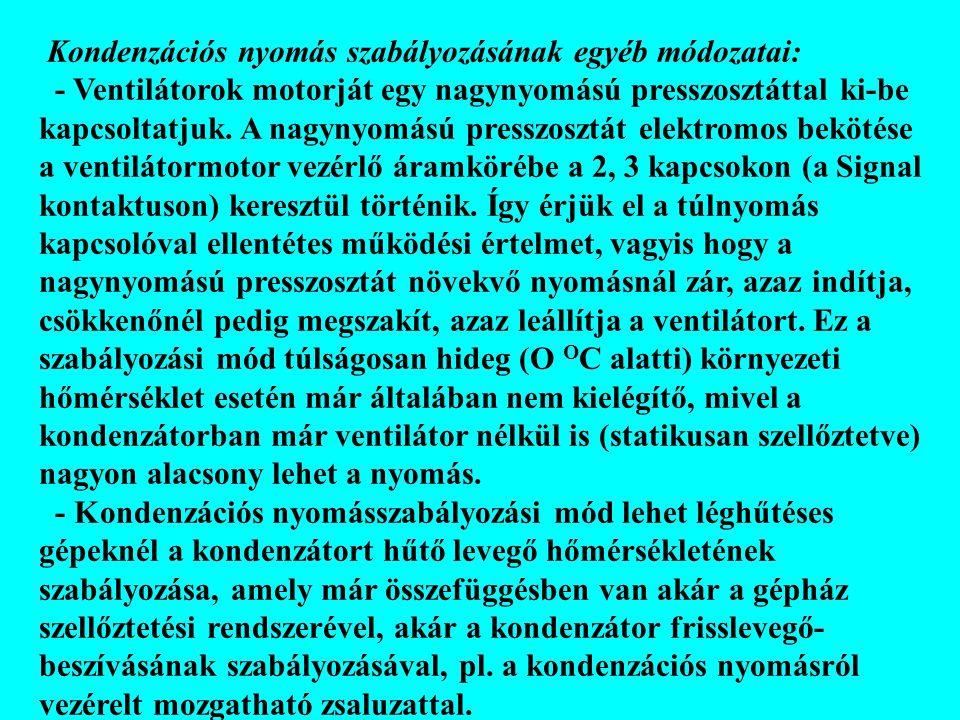 Kondenzációs nyomás szabályozásának egyéb módozatai: