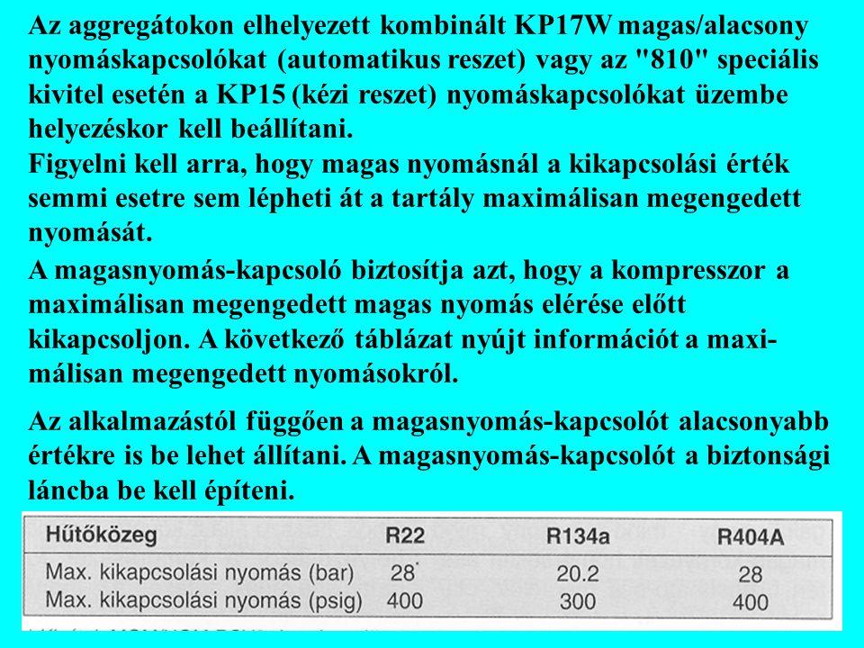 Az aggregátokon elhelyezett kombinált KP17W magas/alacsony nyomáskapcsolókat (automatikus reszet) vagy az 810 speciális kivitel esetén a KP15 (kézi reszet) nyomáskapcsolókat üzembe helyezéskor kell beállítani.