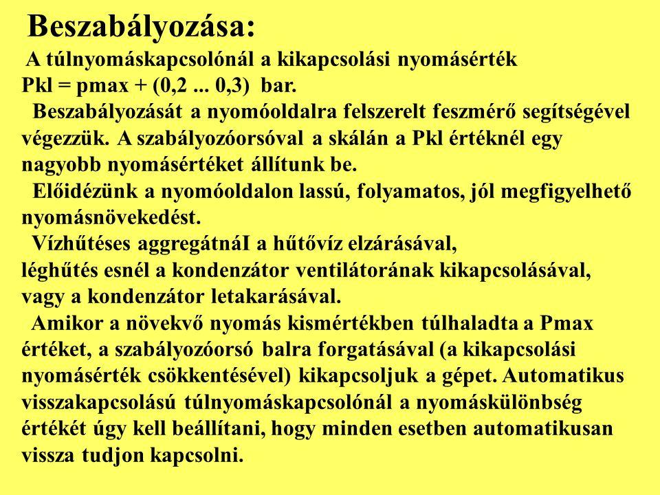 Beszabályozása: A túlnyomáskapcsolónál a kikapcsolási nyomásérték. Pkl = pmax + (0,2 ... 0,3) bar.