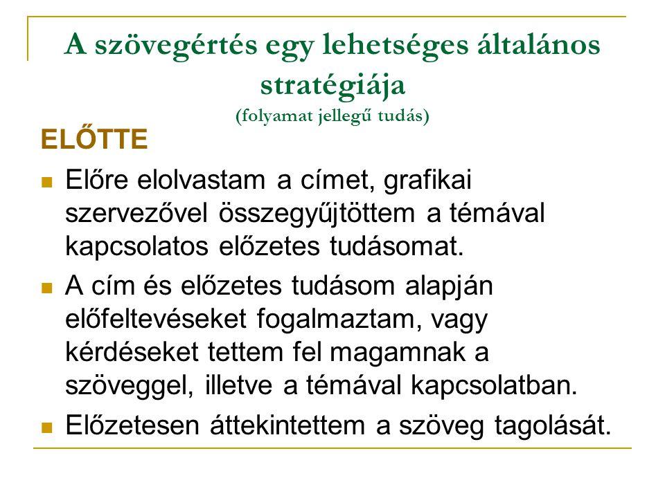 A szövegértés egy lehetséges általános stratégiája (folyamat jellegű tudás)