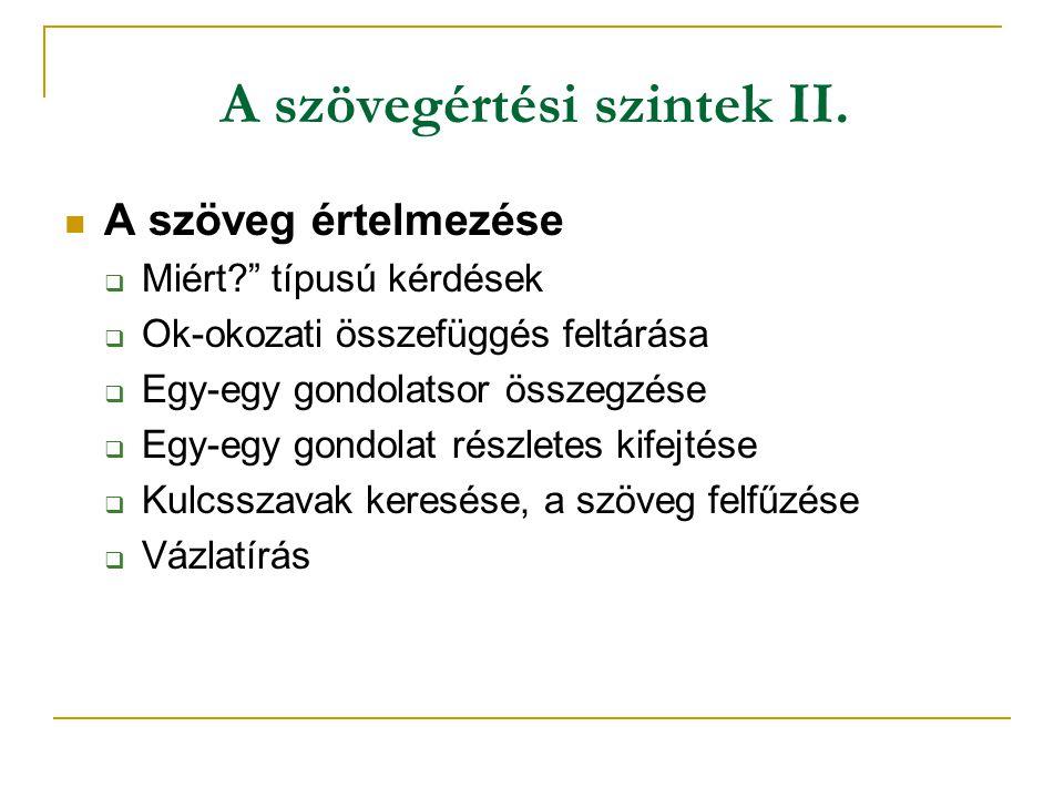 A szövegértési szintek II.