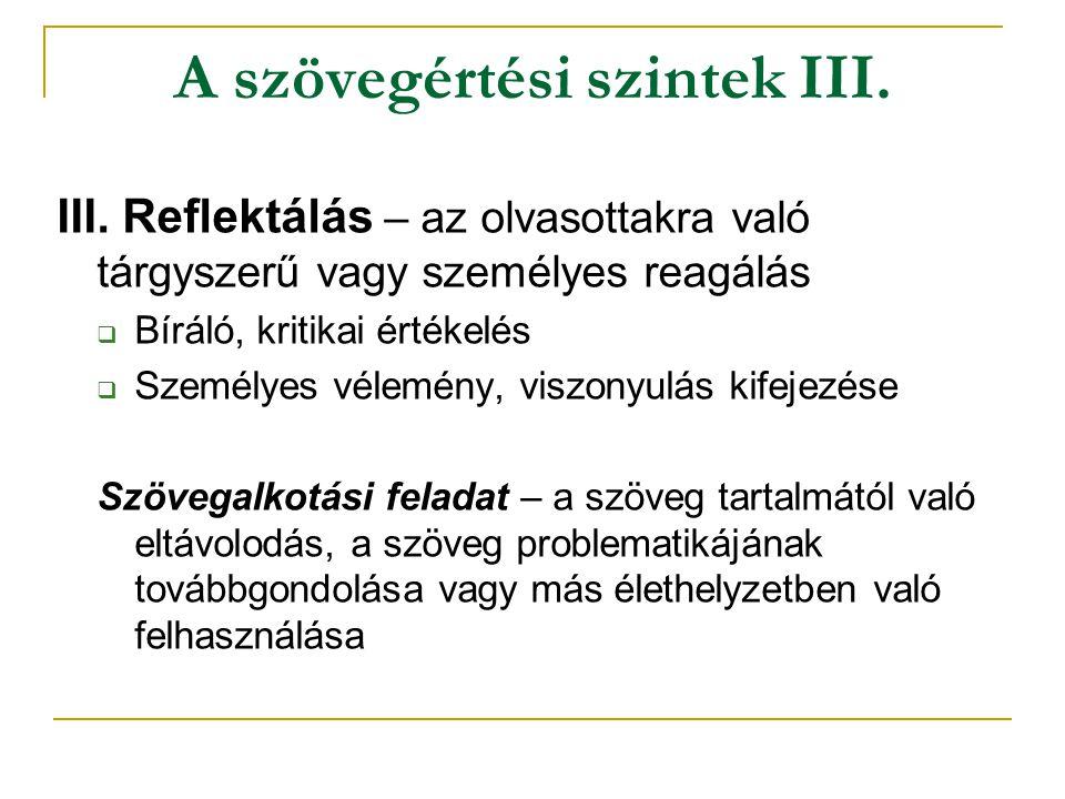 A szövegértési szintek III.