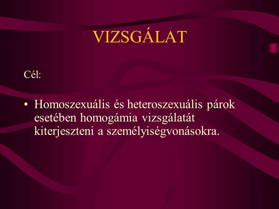 VIZSGÁLAT Cél: Homoszexuális és heteroszexuális párok esetében homogámia vizsgálatát kiterjeszteni a személyiségvonásokra.