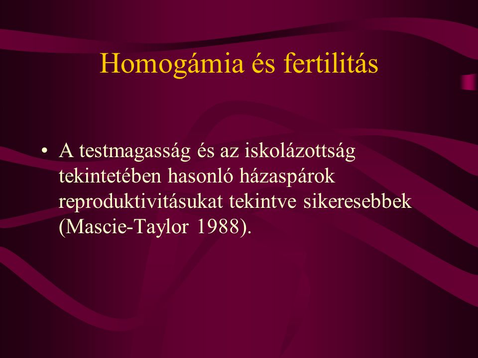 Homogámia és fertilitás