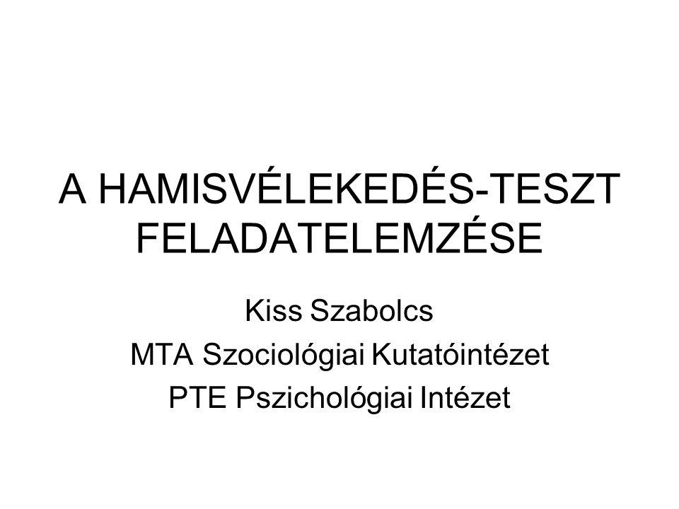 A HAMISVÉLEKEDÉS-TESZT FELADATELEMZÉSE