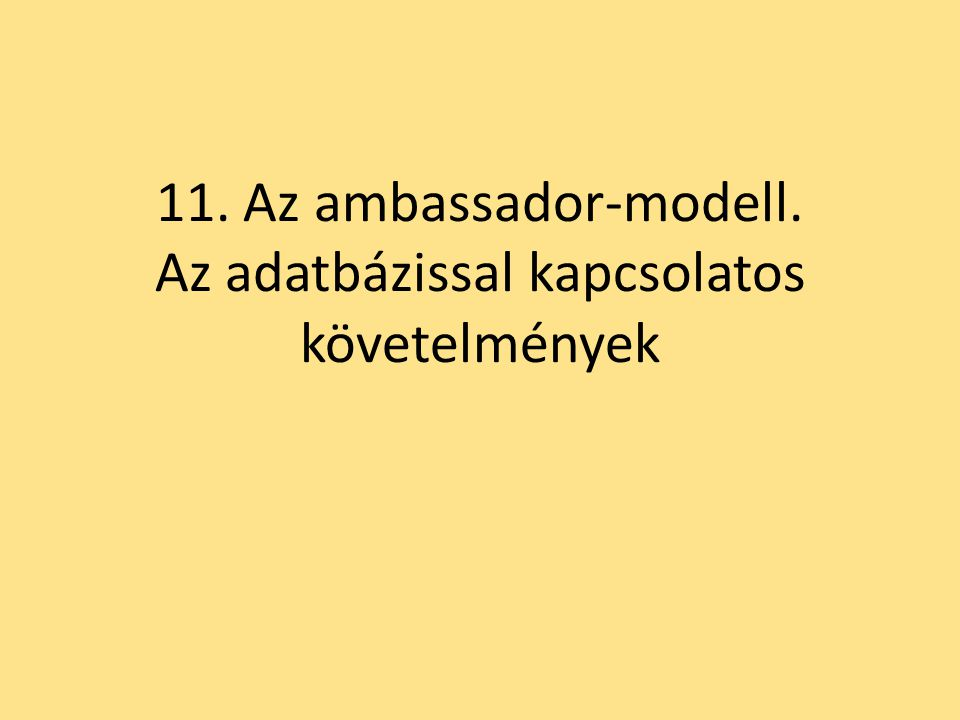 11. Az ambassador-modell. Az adatbázissal kapcsolatos követelmények
