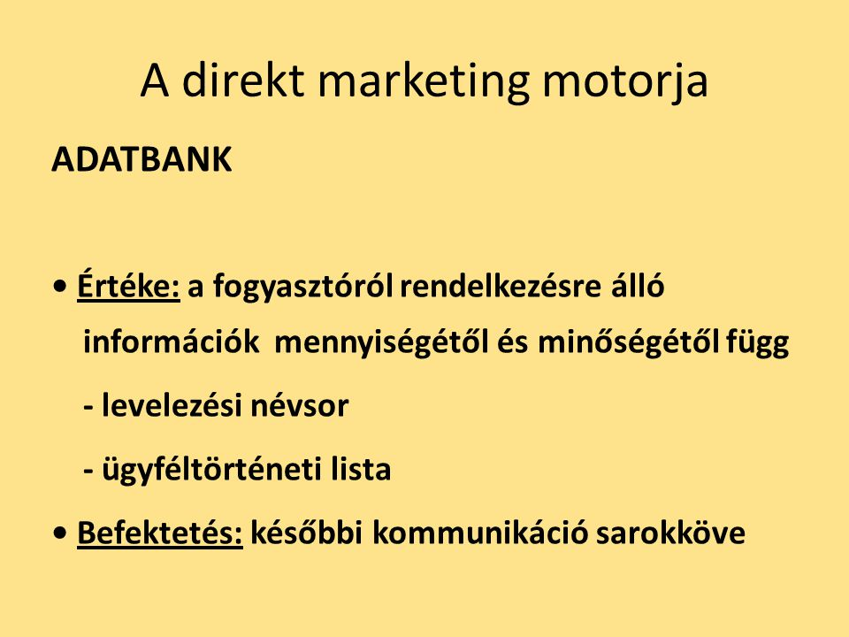 A direkt marketing motorja