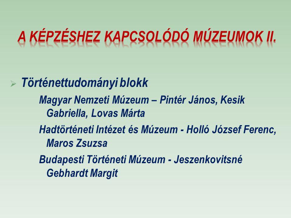 A képzéshez kapcsolódó múzeumok II.