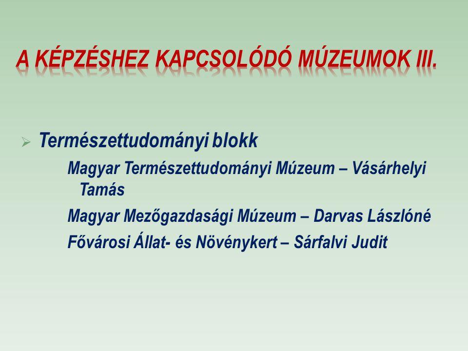 A képzéshez kapcsolódó múzeumok III.