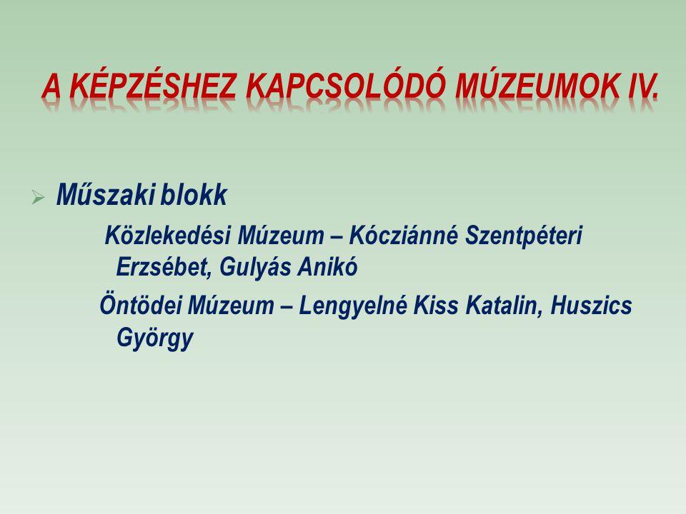 A képzéshez kapcsolódó múzeumok IV.