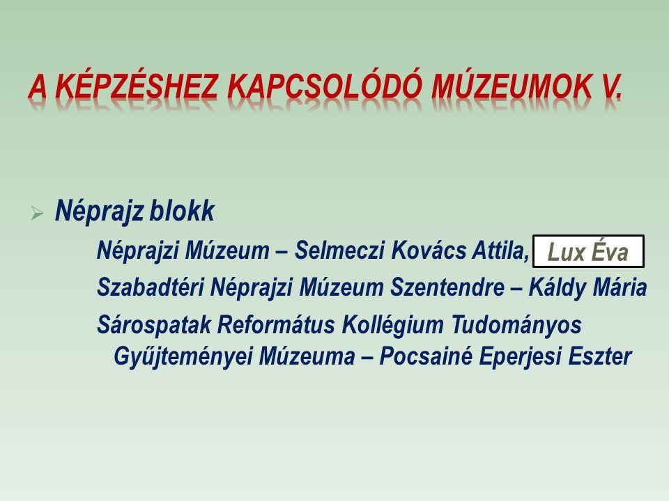 A képzéshez kapcsolódó múzeumok V.
