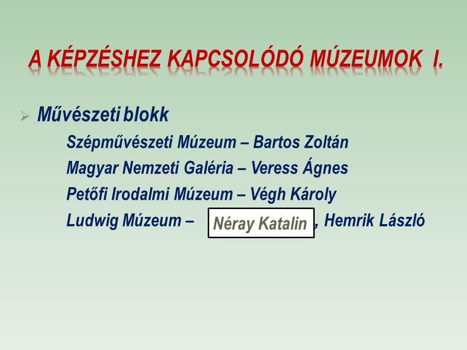 A képzéshez kapcsolódó múzeumok I.
