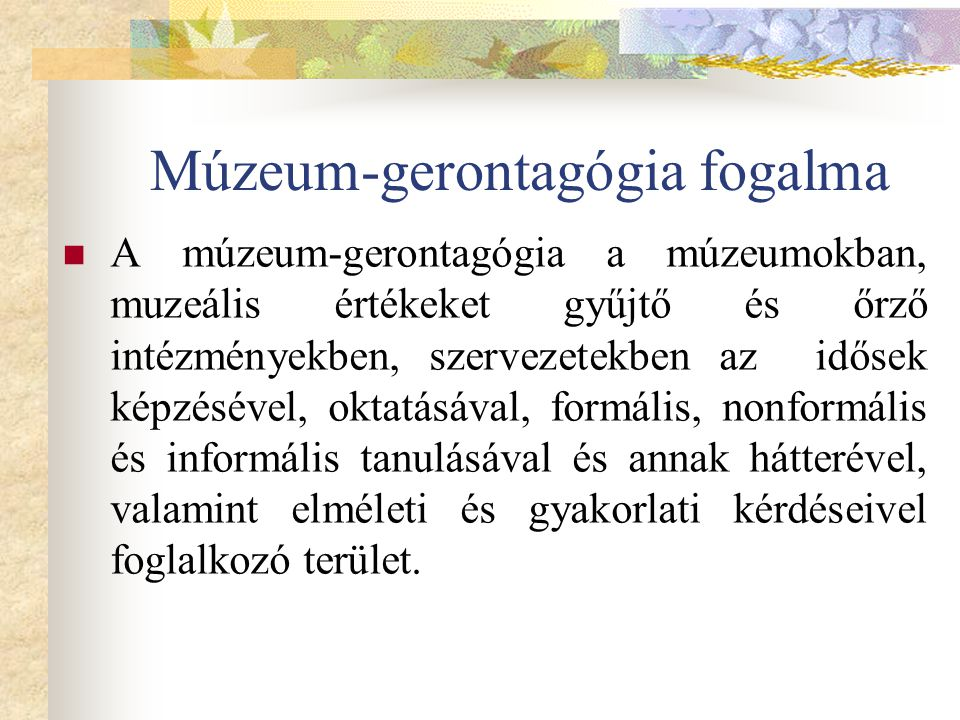 Múzeum-gerontagógia fogalma