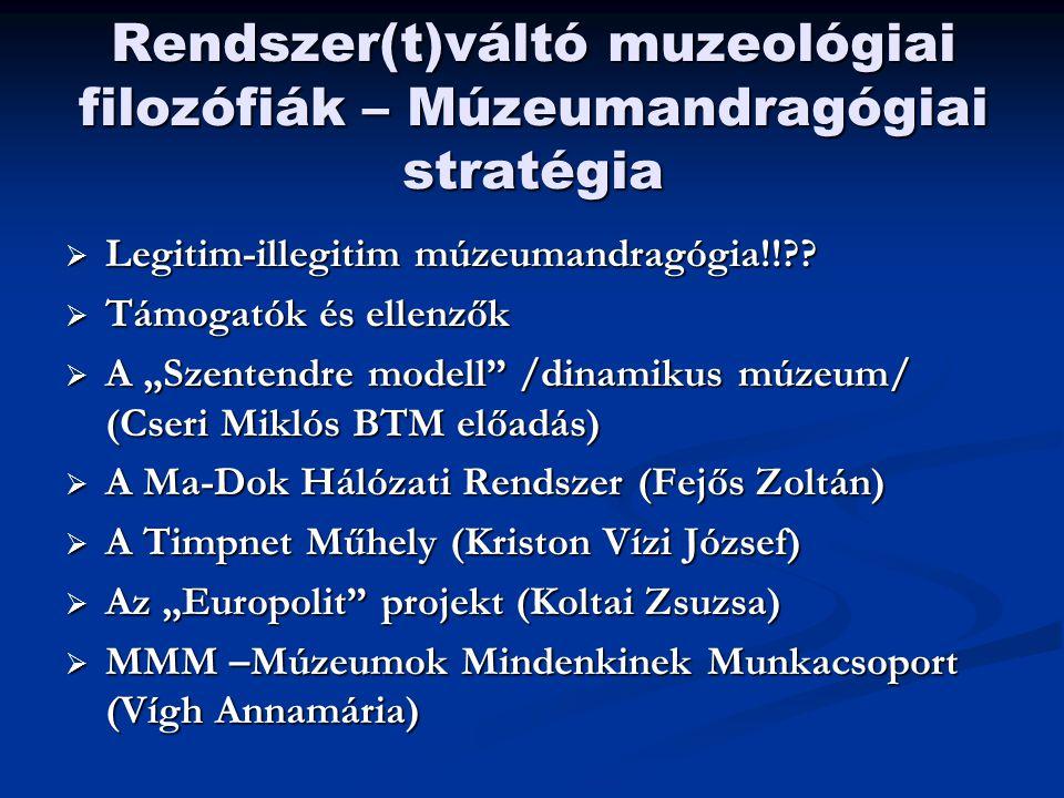 Rendszer(t)váltó muzeológiai filozófiák – Múzeumandragógiai stratégia