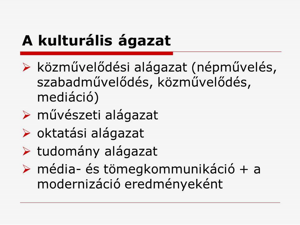 A kulturális ágazat közművelődési alágazat (népművelés, szabadművelődés, közművelődés, mediáció) művészeti alágazat.