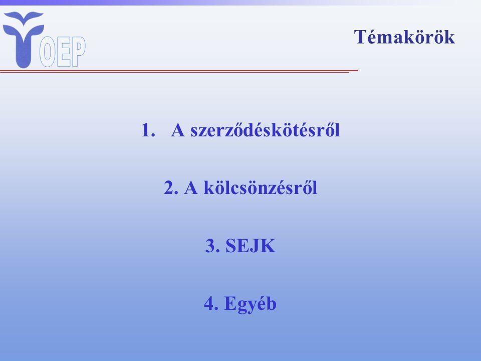Témakörök A szerződéskötésről 2. A kölcsönzésről 3. SEJK 4. Egyéb