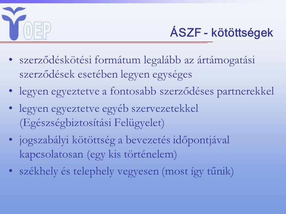 ÁSZF - kötöttségek szerződéskötési formátum legalább az ártámogatási szerződések esetében legyen egységes.