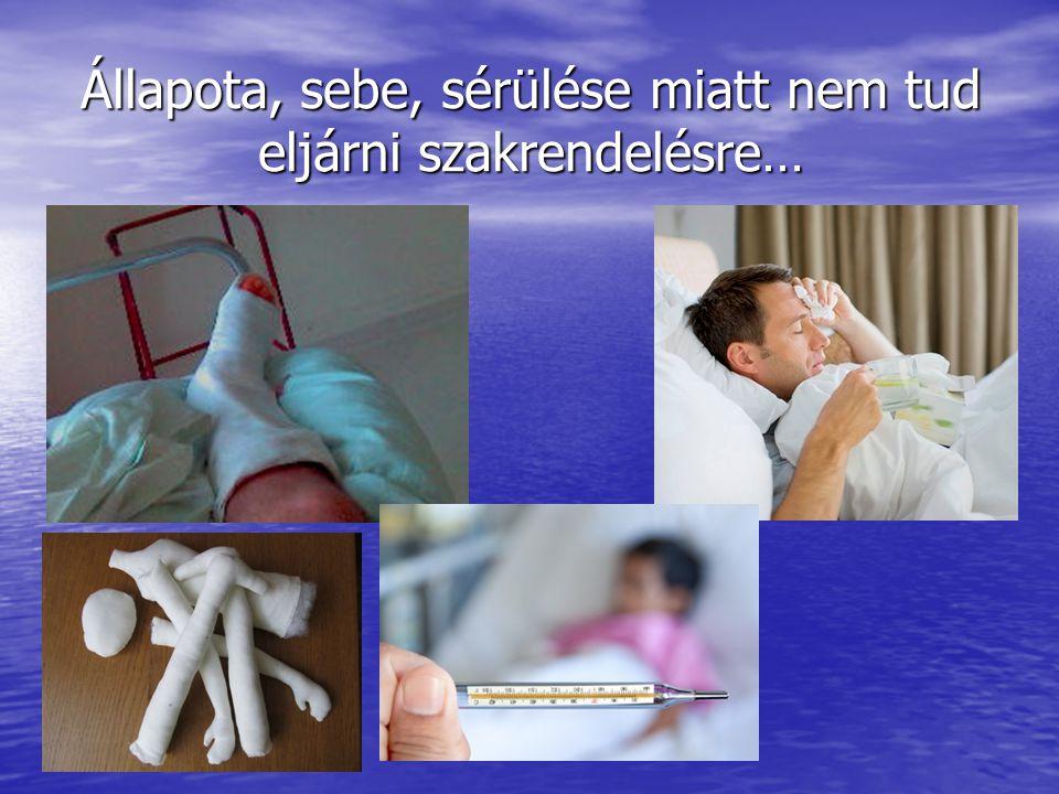 Állapota, sebe, sérülése miatt nem tud eljárni szakrendelésre…