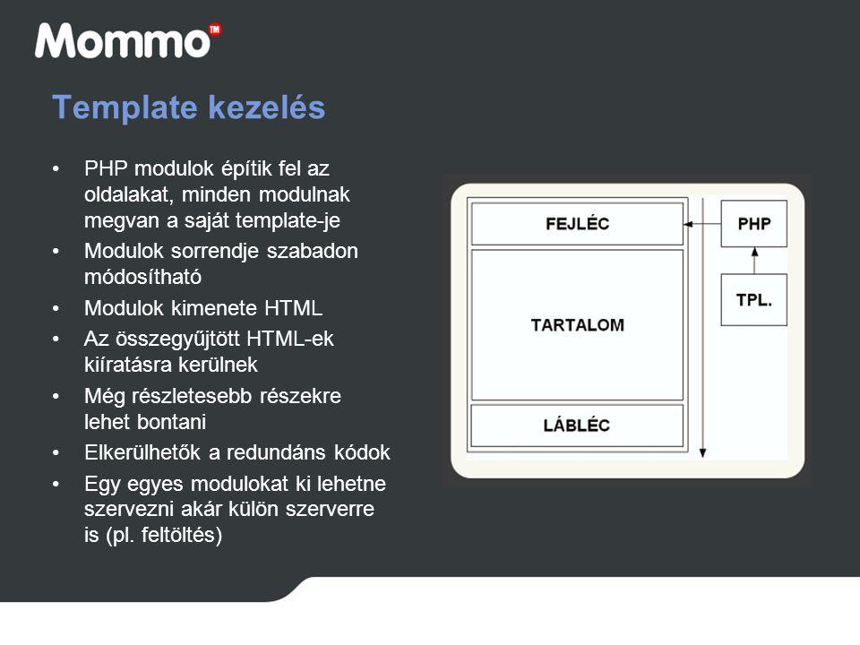 Template kezelés PHP modulok építik fel az oldalakat, minden modulnak megvan a saját template-je. Modulok sorrendje szabadon módosítható.