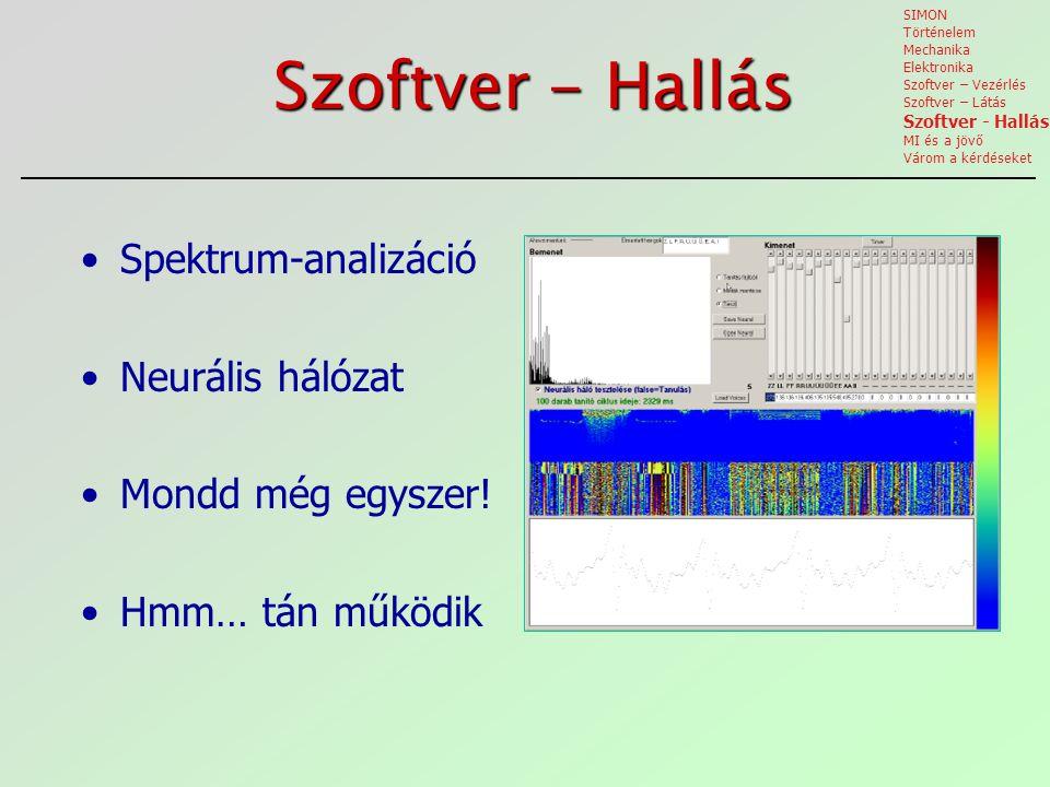 Szoftver - Hallás Spektrum-analizáció Neurális hálózat