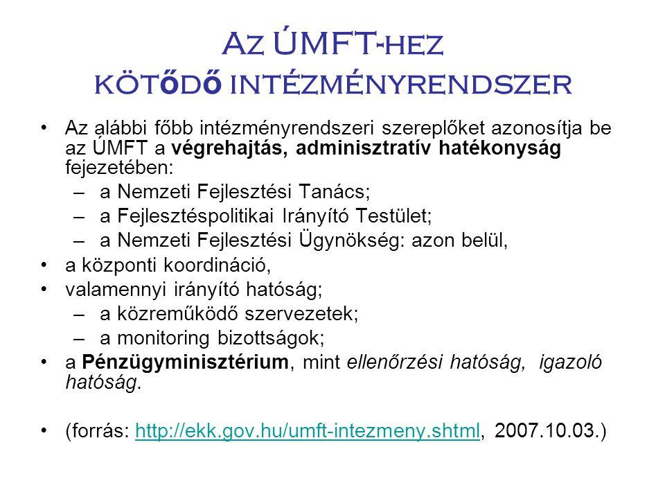 Az ÚMFT-hez kötődő intézményrendszer
