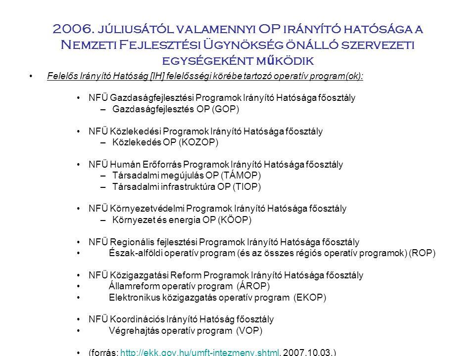 2006. júliusától valamennyi OP irányító hatósága a Nemzeti Fejlesztési Ügynökség önálló szervezeti egységeként működik