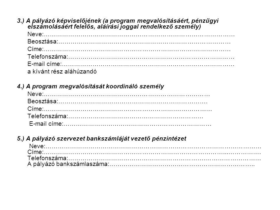 3.) A pályázó képviselőjének (a program megvalósításáért, pénzügyi elszámolásáért felelős, aláírási joggal rendelkező személy)