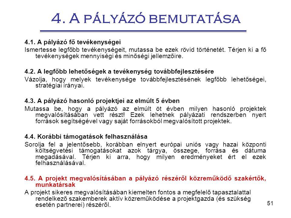 4. A pályázó bemutatása 4.1. A pályázó fő tevékenységei
