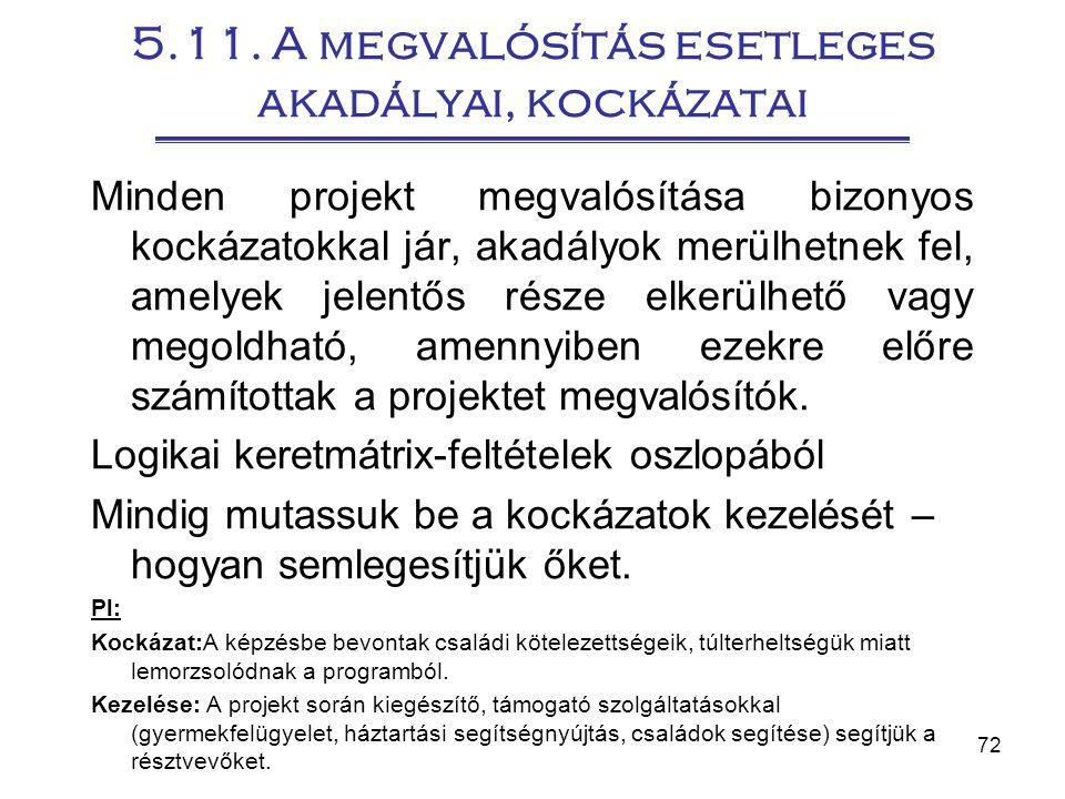 5.11. A megvalósítás esetleges akadályai, kockázatai