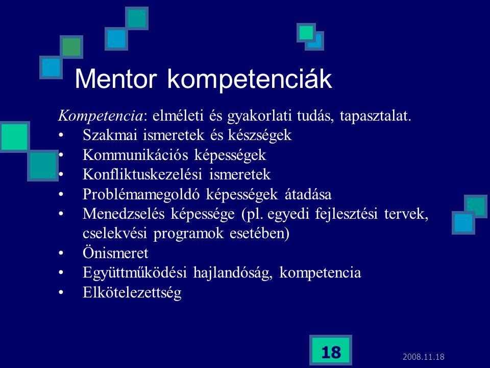 Mentor kompetenciák Kompetencia: elméleti és gyakorlati tudás, tapasztalat. Szakmai ismeretek és készségek.