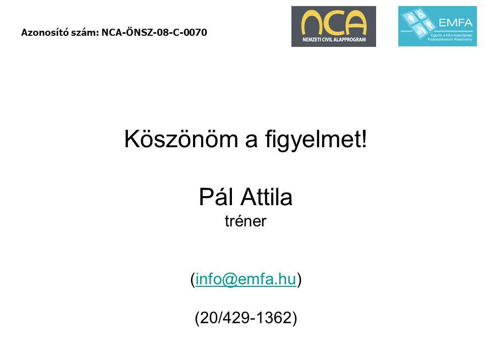 Köszönöm a figyelmet! Pál Attila tréner (info@emfa.hu) (20/429-1362)