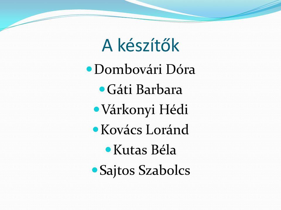 A készítők Dombovári Dóra Gáti Barbara Várkonyi Hédi Kovács Loránd