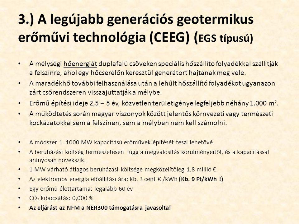 3.) A legújabb generációs geotermikus erőművi technológia (CEEG) (EGS típusú)