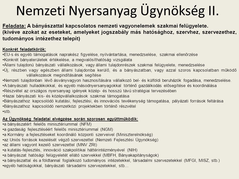 Nemzeti Nyersanyag Ügynökség II.
