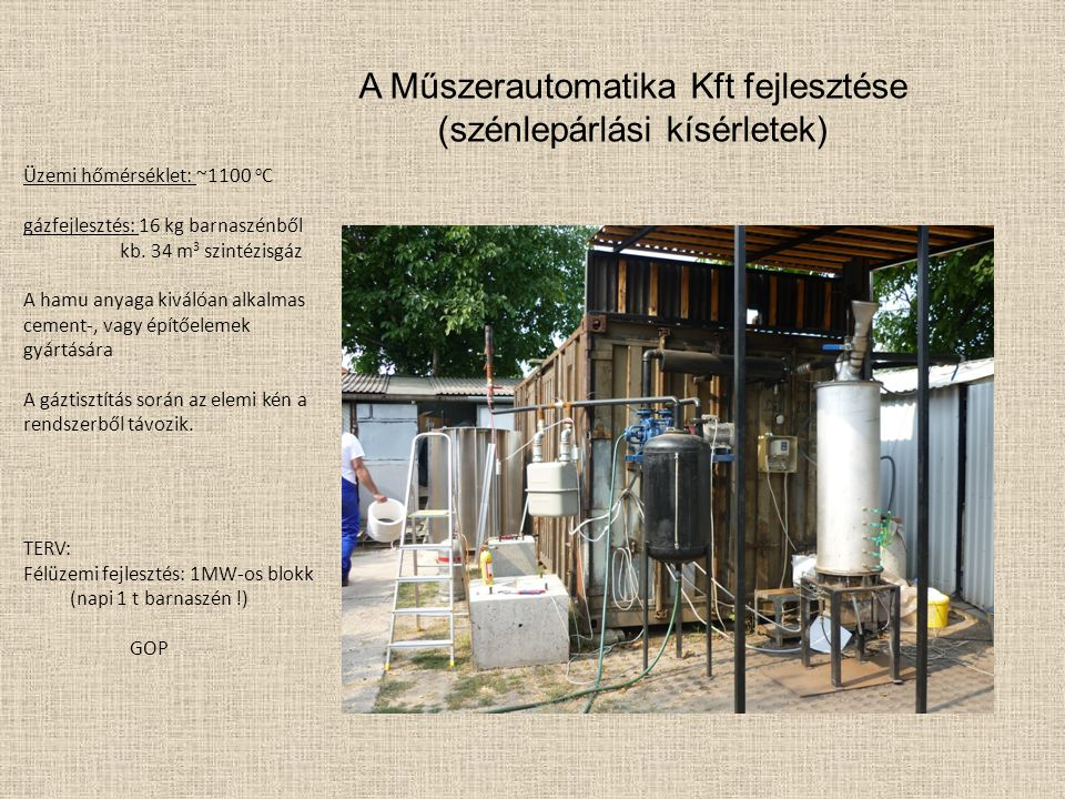 A Műszerautomatika Kft fejlesztése (szénlepárlási kísérletek)