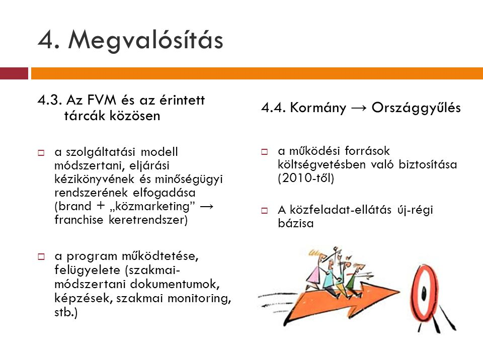 4. Megvalósítás 4.3. Az FVM és az érintett tárcák közösen