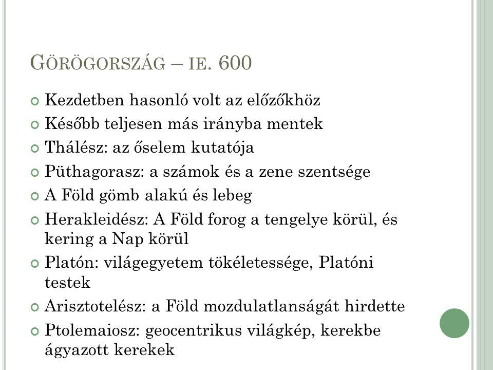 Görögország – ie. 600 Kezdetben hasonló volt az előzőkhöz